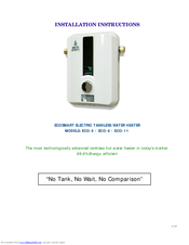 EcoSmart ECO-11 Installation Instructions Manual