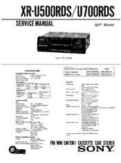 Sony xr-u500rds Service Manual