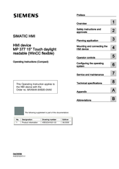 Siemens Simatic MP 377 Operating Instructions Manual