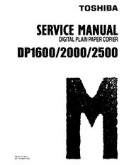 toshiba dp1600 dp2000 digital plain paper copier repair manual
