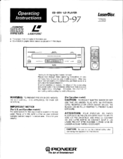 Pioneer CLD-97 Operating Instructions Manual