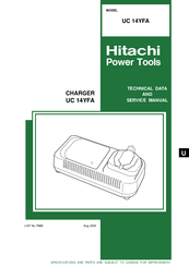 Hitachi UC 14YFA Technical Data And Service Manual