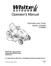 White Outdoor Lt 542kh Operator S Manual 29 Pages Hydrostatic Lawn Tractor