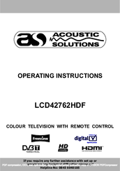 acoustic solutions lcd42762hdf manuals rh manualslib com acoustic solutions lcd26805hd manual acoustic solutions tv manual tuning