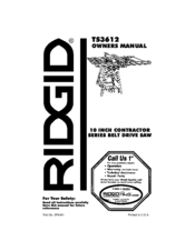 Manuals And User Guides For Ridgid Ts3612 We Have 1 Manual Available Free Pdf Owner S