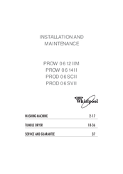 Whirlpool PROD 06SVII Installation And Maintenance Manual