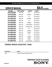 Sony KV-32FS120 - FD Trinitron WEGA Flat-Screen CRT TV Service Manual