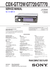 sony cdx gt770 manuals manuals and user guides for sony cdx gt770 we have 2 sony cdx gt770 manuals available for pdf service manual operating instructions manual