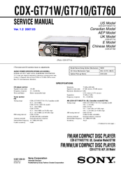 Sony CDX-GT760 Service Manual