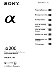 sony a200 instruction manual pdf download rh manualslib com Sony DSLR A200 Accessories Sony DSLR A200 Charger