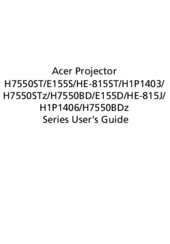 Acer H7550ST Series User Manual