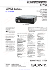sony mex bt2750 manuals sony mex bt2750 service manual