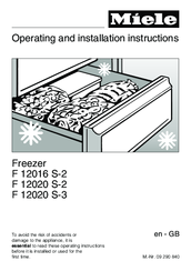Miele F 12016 S-2 Operating And Installation Instructions