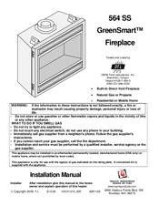 Travis Industries GreenSmart Fireplace 564 SS Manuals