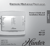 hunter 40137 manuals hunter 40137 owner s manual and installation manua 30 pages electronic mechanical thermostat