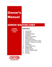 defy gemini master chef manuals rh manualslib com defy gemini masterchef multifunction thermofan oven manual defy gemini double oven instruction manual