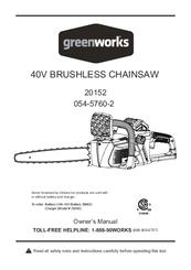 GREENWORKS 20152 OWNER'S MANUAL Pdf Download
