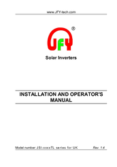 JFY tech JSI-2500TL Installation And Operator's Manual