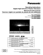 Panasonic TH-50PX60U Operating Instructions Manual