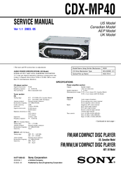 sony cdx-mp40 installation/connection manuals sony cdx l250 wiring diagram for sony cdx gt270s wiring guide