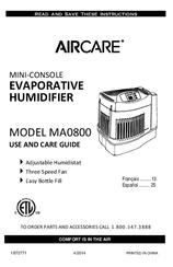 Aircare ma0800 manuals.