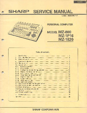 Sharp MZ-1E20 Service Manual