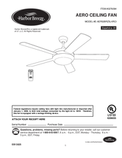 harbor breeze aero ceiling fan e aer52brz5lkrci manuals rh manualslib com harbor breeze ceiling fan manual remote harbor breeze ceiling fan manual with remote