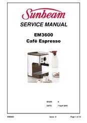 Sunbeam Cafe Espresso EM3600 Manuals