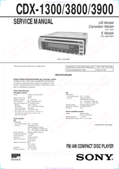 Sony CDX-1300 - Fm/am Compact Disc Player Service Manual