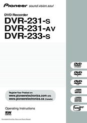 Pioneer DVR-233-S Operating Instructions Manual