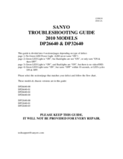 Sanyo DP32640-01 Troubleshooting Manual