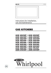 Whirlpool AGB 483/WP Instructions For Installation, Use And Maintenance Manual