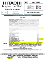 hitachi 51f510 dp43 service manual pdf download rh manualslib com Hitachi Ultravision 60 Hitachi 60Sx12b
