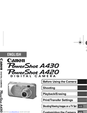 canon powershot a420 manuals rh manualslib com Canon PowerShot Manual PDF canon powershot a420 manual