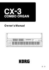 Korg CX-3 Combo Organ Owner's Manual