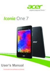 ACER ICONIA ONE 7 USER MANUAL Pdf Download | ManualsLib