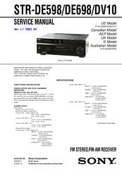 sony str de698 a v receiver manuals. Black Bedroom Furniture Sets. Home Design Ideas