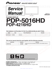 Pioneer PDP-4216HD Service Manual