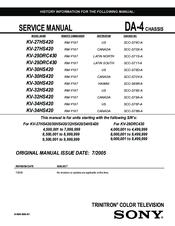 Sony WEGA KV-34HS420 Service Manual