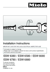 Miele ESW 6580 Installation Instructions Manual