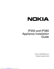 Nokia IP380 - Security Appliance Appliance Installation Manual