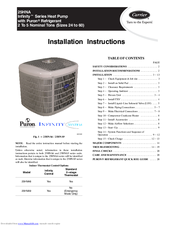 carrier hna infinity series manuals carrier 25hna infinity series installation instructions manual
