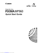 Canon PIXMA MP960 Quick Start Manual