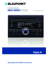 BLAUPUNKT NEW JERSEY 220 BT OPERATING AND INSTALLATION