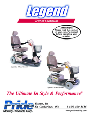 pride mobility legend 3 wheel scooter manuals rh manualslib com Pride Legend Scooter Pride Legend 3 Wheel Scooter