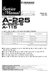 Pioneer A-225 Service Manual