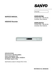 Sanyo HVR-DX710 Service Manual