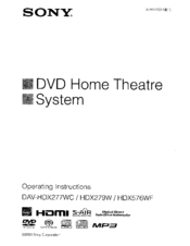 Sony DAVHDX576WF - DAV Home Theater System Operating Instructions Manual