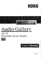 Korg Audio Gallery AG-10 User Manual