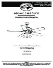 HAMPTON BAY CAMPBELL USE AND CARE MANUAL Pdf Download. on